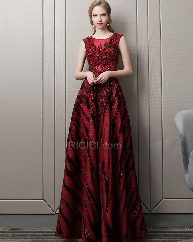Abendkleid Elegante Festliche Kleider Ruckenausschnitt Rundhalsausschnitt A Linie Tull Perlen Pailletten Lange Burgunderrot Kaufen Ricici Com