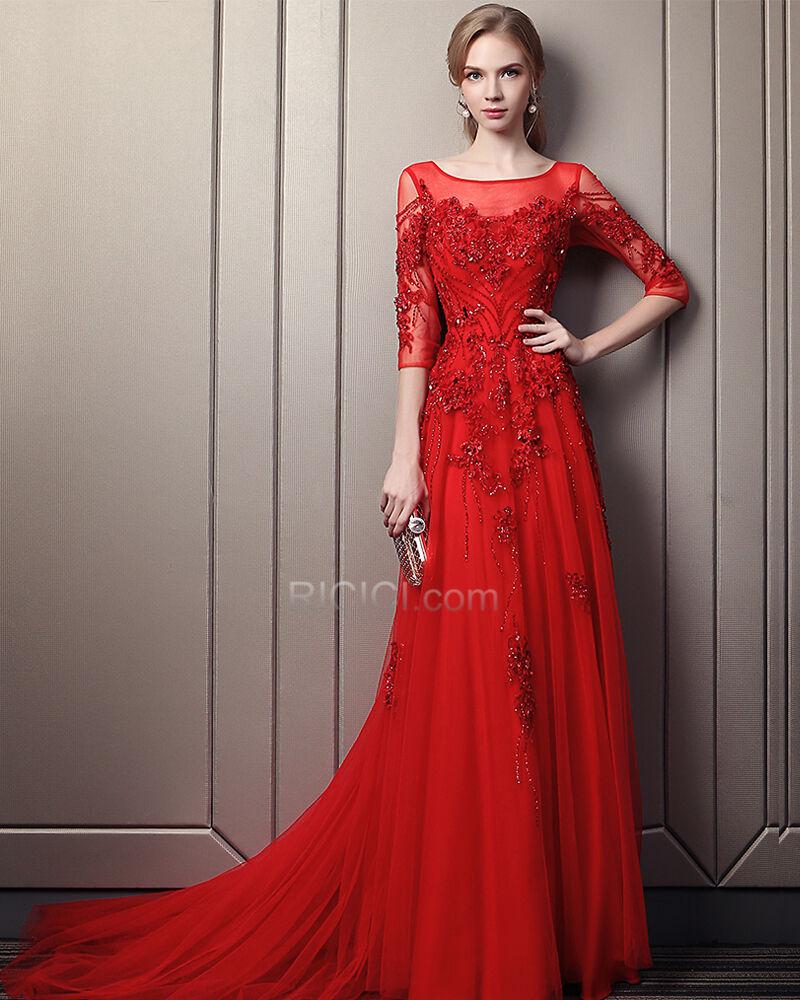 Rot Luxus Lange Rückenfreies Schönes A Linie Abendkleid ...