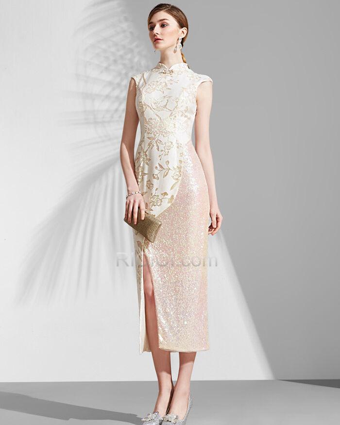 Stickerei Champagner Armellos Abend Brautmutter Festliche Kleider Qipao Elegante Etui Ricici Com
