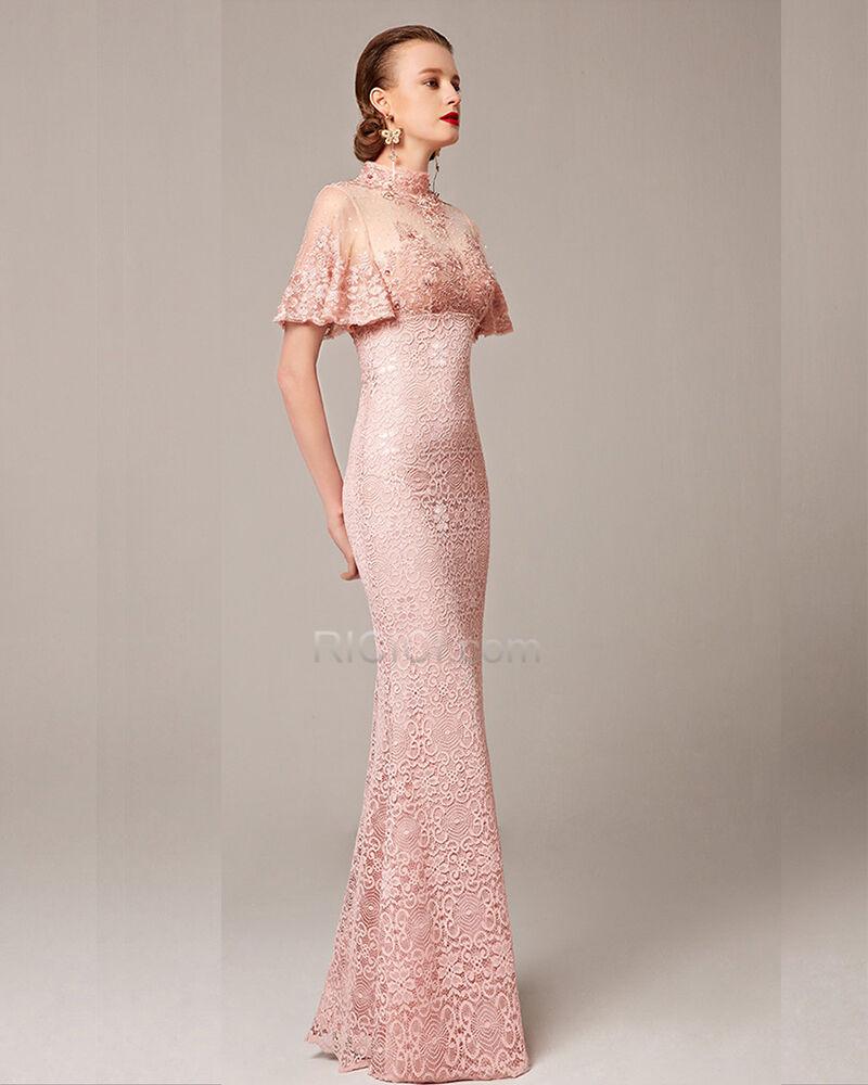 spitzen satin brautmutter abend hochzeitsgäste festliche kleider elegante  modest luxus a linie kurzarm pink stickerei strasssteine cut out