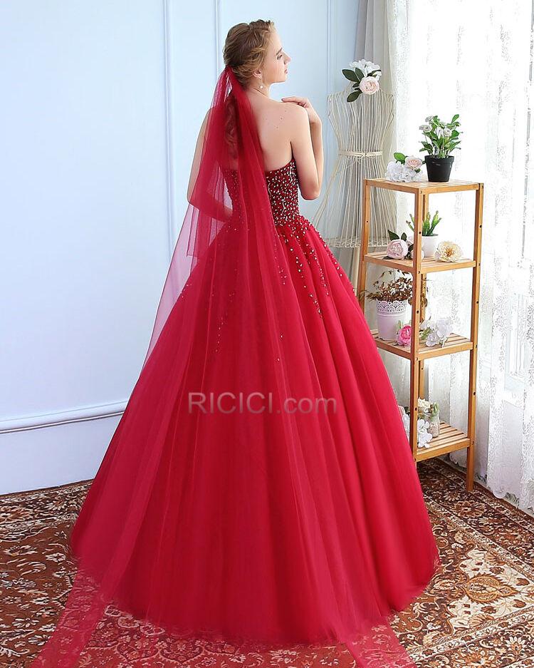 Mit Glanz Ruckenfreies Rot Ball Quinceanera Festliche Kleider Tull Lange Armellos Glitzernden Sexy Ball Gown Bandeau Ricici Com