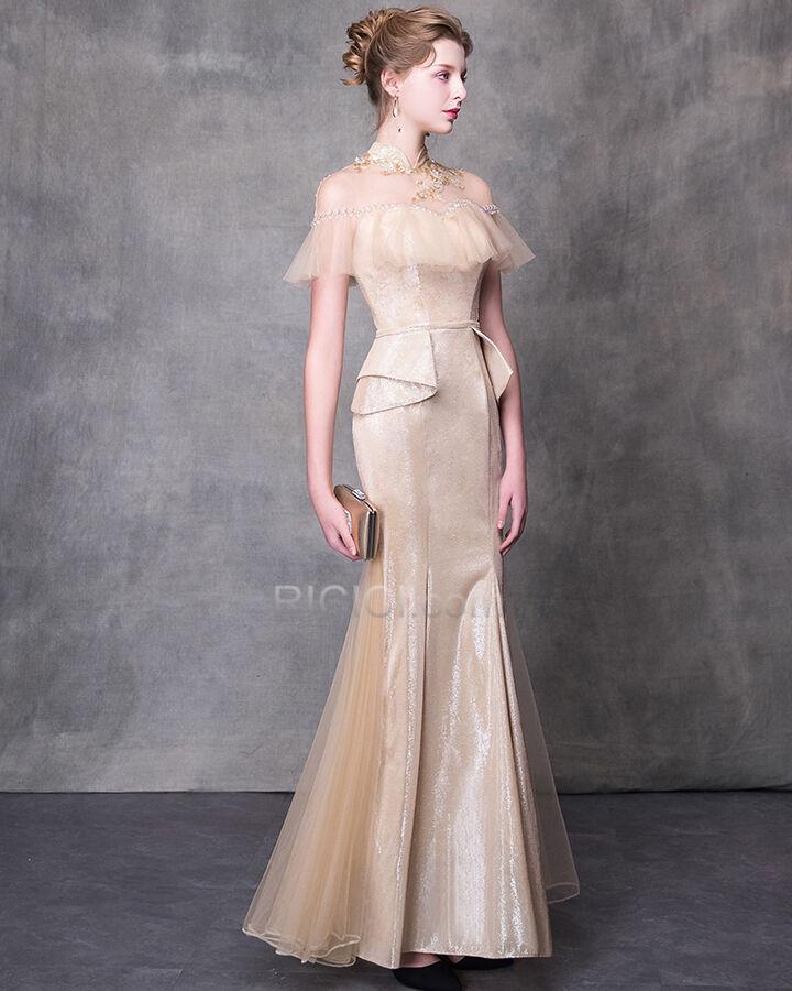 bleistift ballkleid verlobungskleid transparentes beige