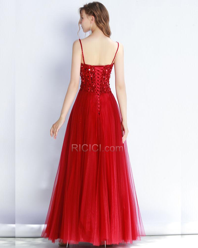 ballkleider abendkleid pailletten abiballkleider schöne partykleider rot  rückenfreies spaghettiträger