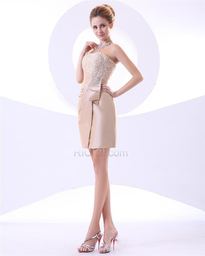 Ärmellos etui tragerloses hochzeitsgäste kleider elegante kurze  rückenfreies cocktailkleid applikationen