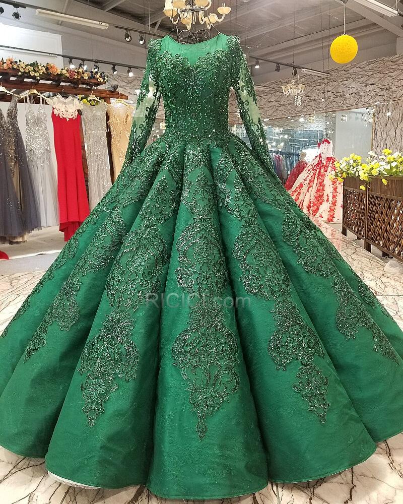 spitzen lange ballkleider schönes dunkelgrün quinceanera kleider festliche  kleider lange Ärmel