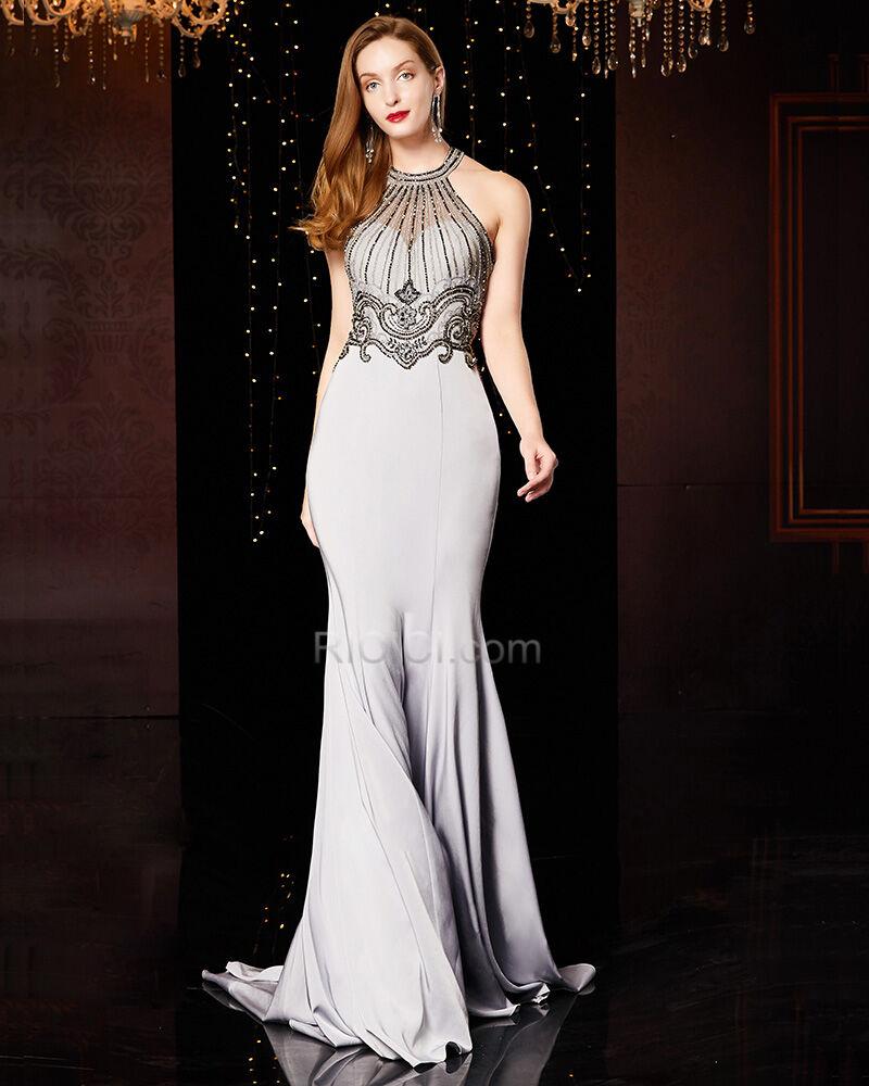silber applikationen lange abendkleid meerjungfrau festliche kleider  neckholder perlen schönes abiballkleider satin