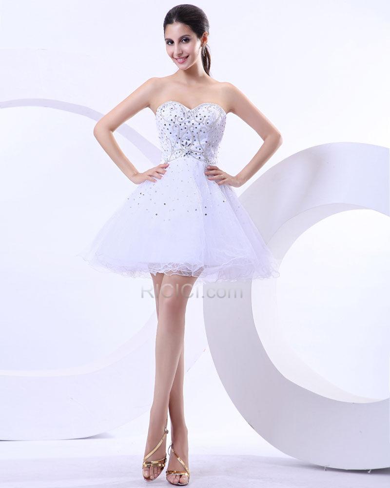 Cocktailkleid Kurze Schöne Weiß Tragerloses Tüll Abschlusskleider Perlen  Fit N Flare