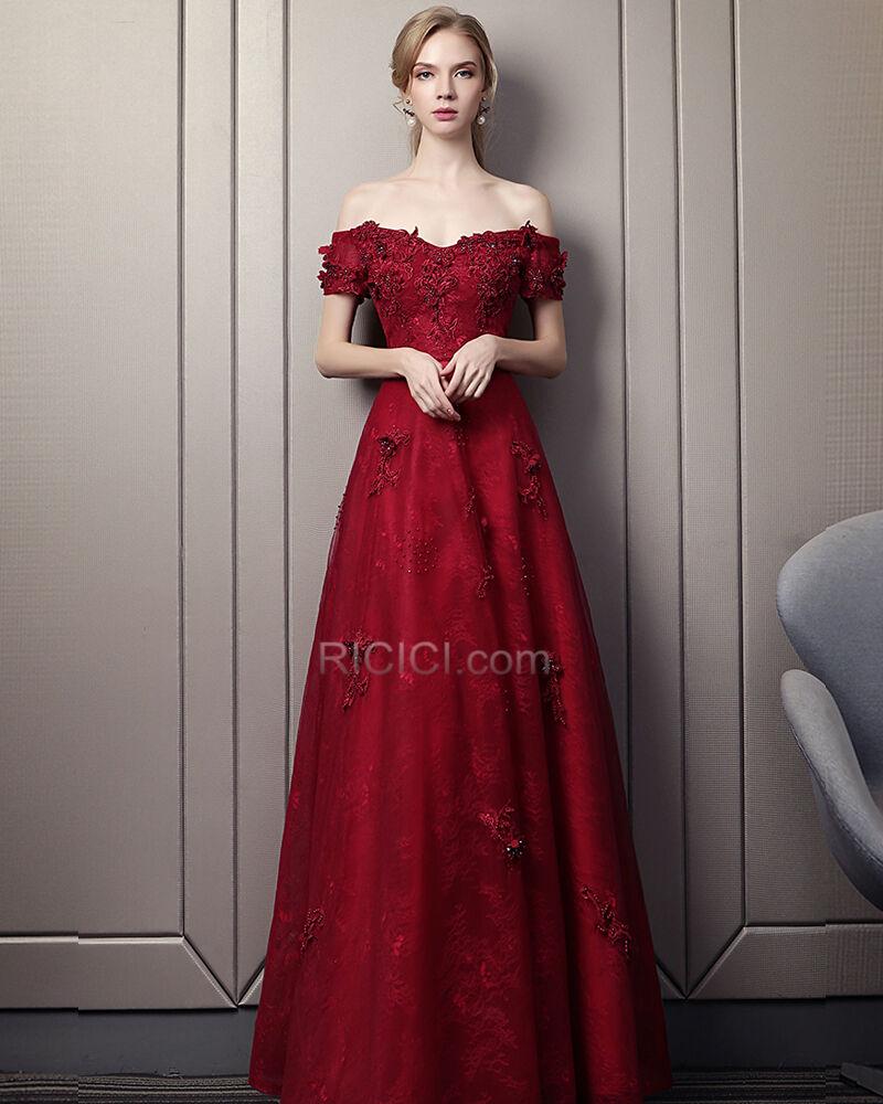 empire festliche kleider ballkleider abendkleider brautjungfernkleid  spitzen burgunderrot rückenausschnitt elegante lange