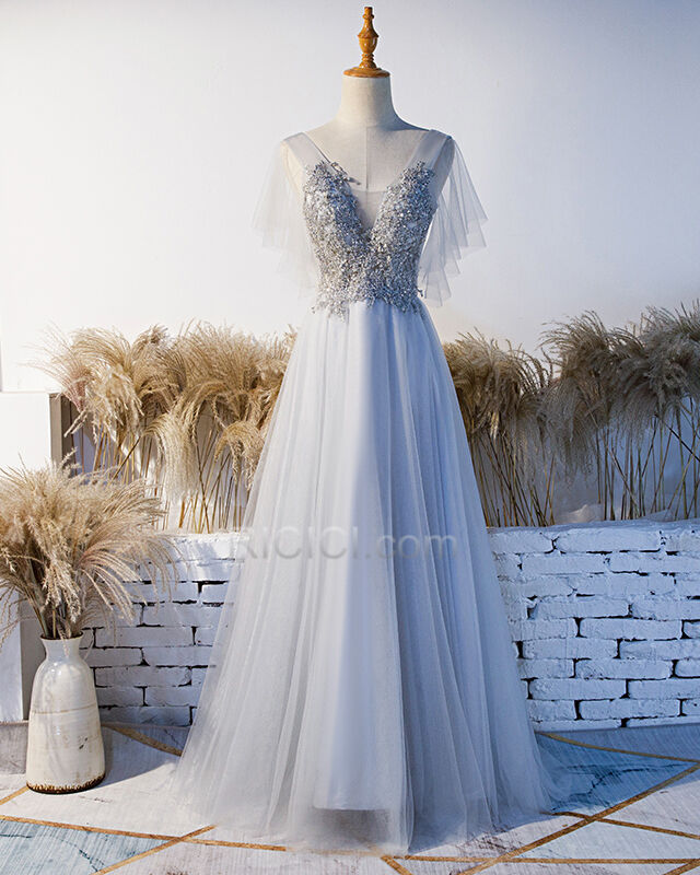 Silber Elegante Festliche Kleider Abendkleid ...