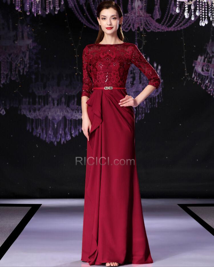 Halbe Armel Kleider Hochzeitsgaste Lange Spitzen Perlen Brautmutterkleider Elegante Abendkleider Gunstig 57020190607 1 Ricici Com