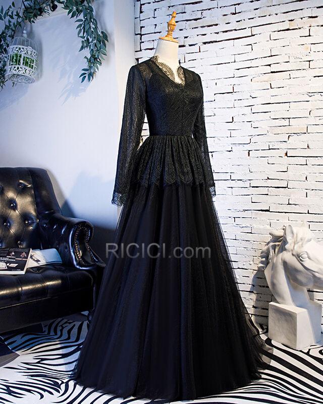 Prinzessin V Ausschnitt Schößchen Schwarze Abendkleid ...