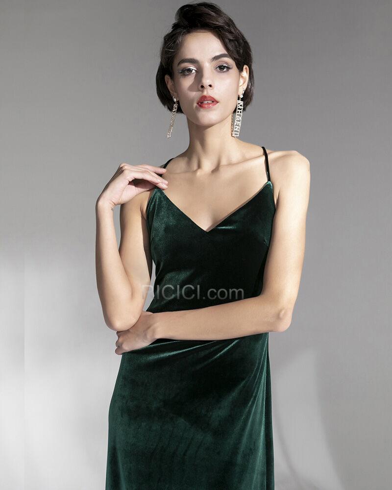 Samt Rückenfreies Lange Vintage Dunkelgrün Abendkleider ...