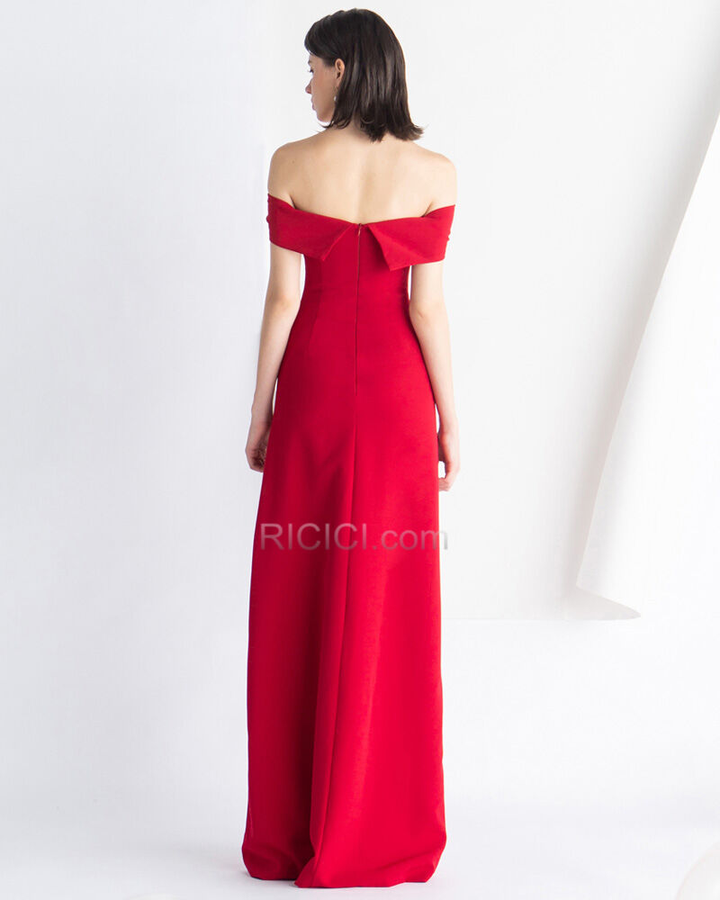 Off Shoulder Schlichte Rot Abendkleid Vintage Empire ...