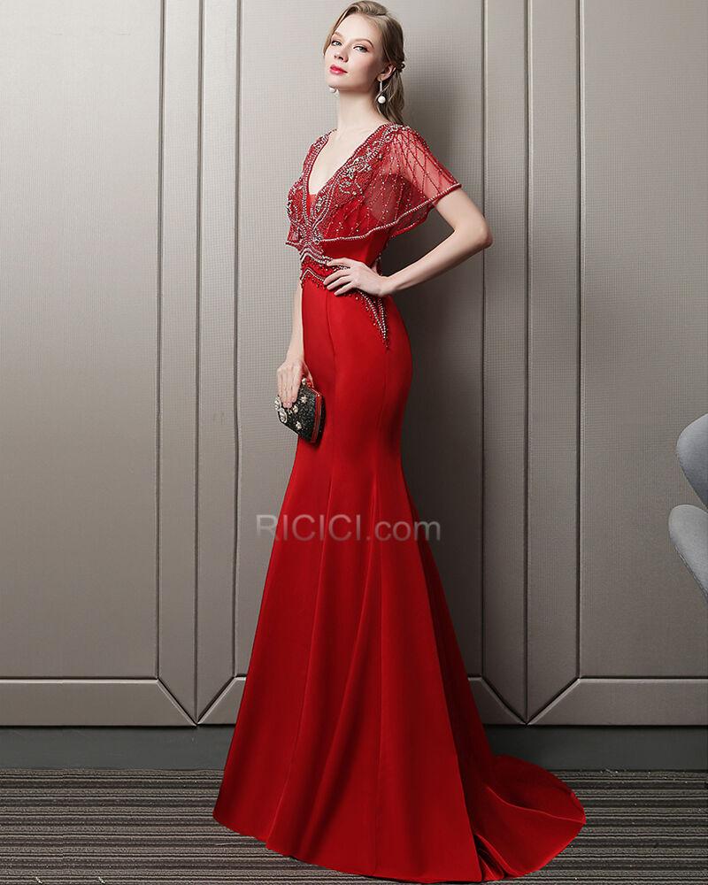 Abendkleider Lange Rot Galakleid Ballkleider Perlen Rückenausschnitt Tüll  Tiefer Ausschnitt Sommer Sexy Herrlich