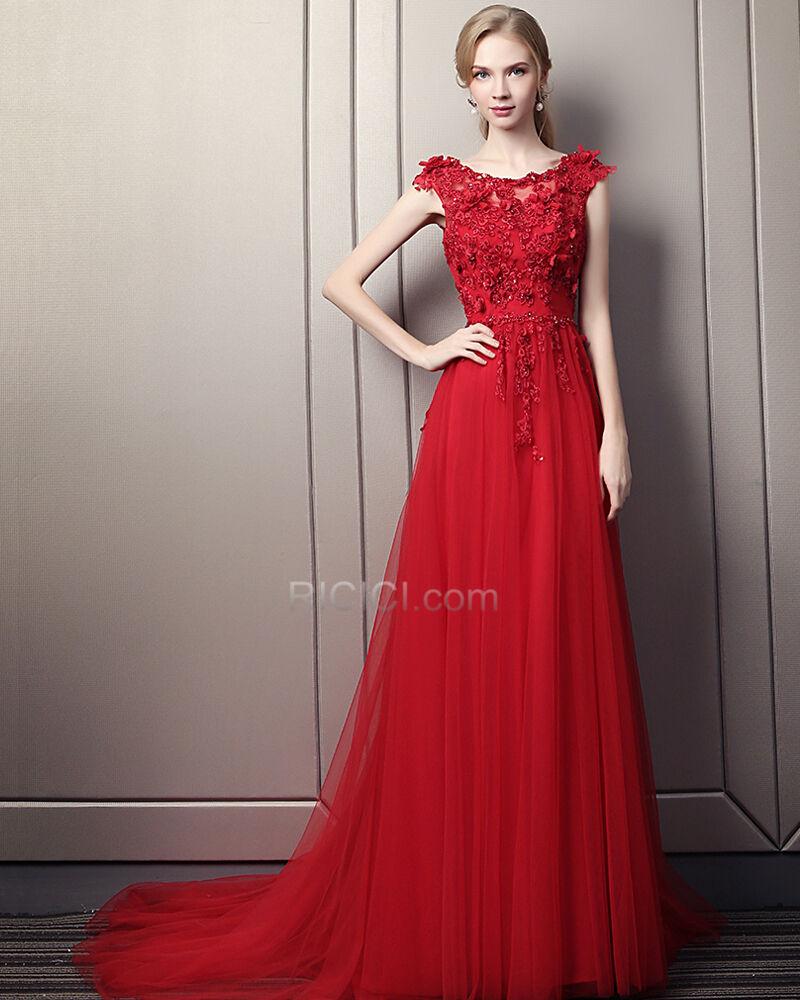 ballkleider perlen elegante abendkleider prinzessin 2018 Ärmellos spitzen  rot rückenausschnitt bohemian satin kleider für festliche