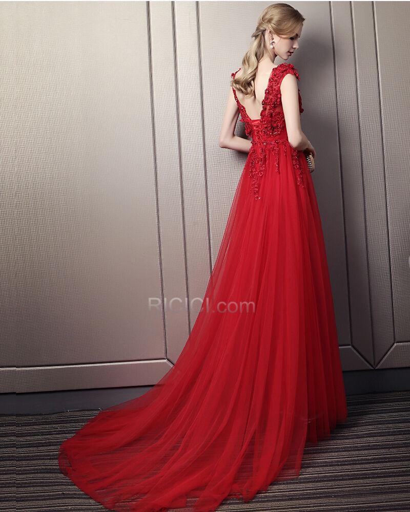 Ballkleider Perlen Elegante Abendkleider Prinzessin 16 Ärmellos Spitzen  Rot Rückenausschnitt Bohemian Satin Kleider Für Festliche