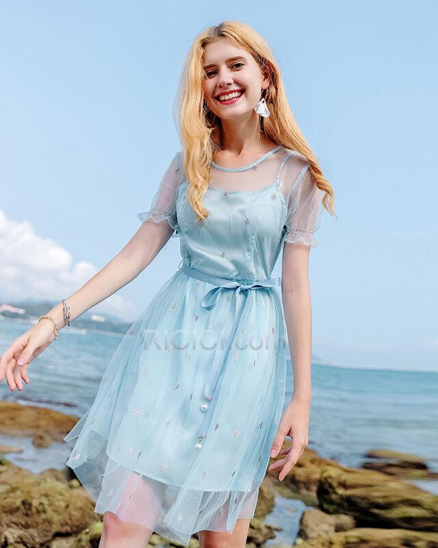 hellblau kurzarm gerade kleid perle tüll schöne - ricici