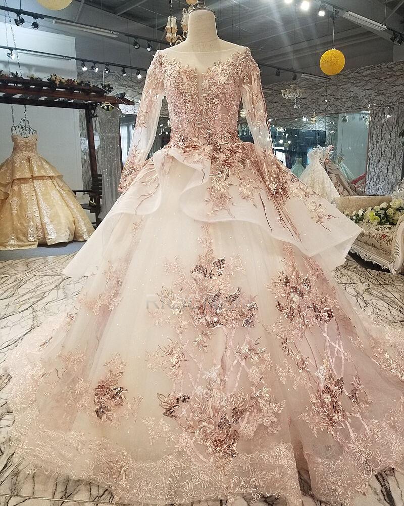 quinceanera kleider lyserosa tiefer ausschnitt applikationen ballkleider  lange Ärmel kleider für festliche jugendweihe kleid petticoatkleid lange