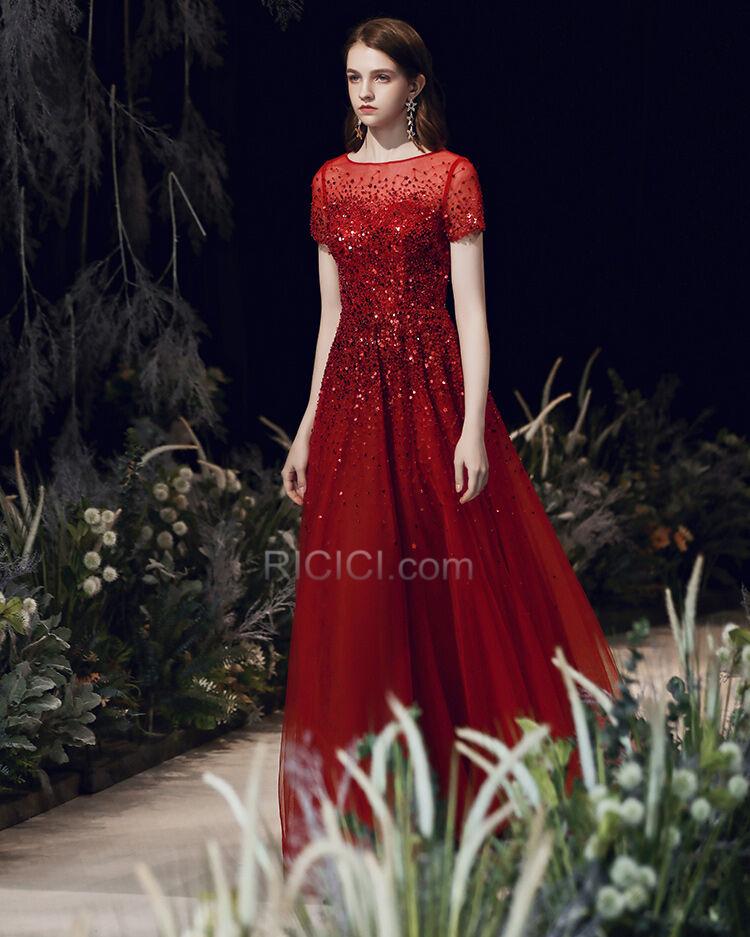 A Linie Elegante Abendkleid Kurzarm Ballkleid Rot ...
