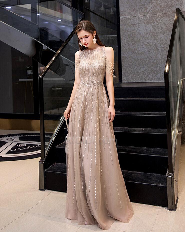 Glitzernden Strasssteine Luxus Lange Abendkleid ...