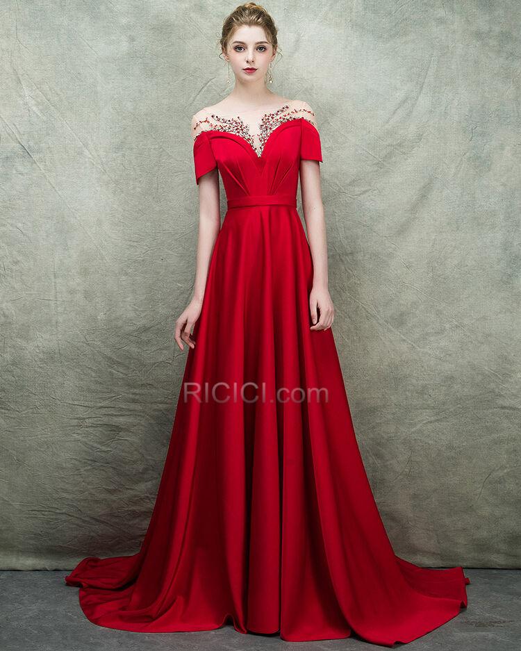 Abendkleider Satin Prinzessin Elegante Schulterfreies Verlobungskleider Ruckenfreies Rot Maxi Tiefer Ausschnitt Ballkleider Gunstig Ricici Com