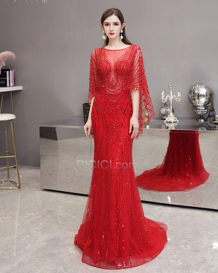 Rot Verlobungskleider Glitzernden Pailletten Halbe Armel Lange Kristall Transparentes Luxus Abendkleid Gunstig Online 9020270560 Ricici Com