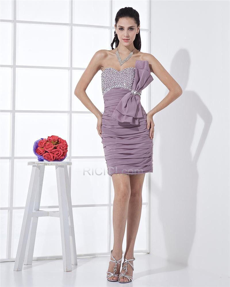 kleider hochzeitsgäste bandeau bleistift chiffon sexy cocktailkleider  schleife kurze herz ausschnitt