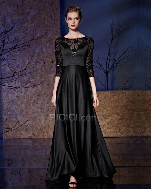 Halbe Armel Satin Spitzen Schwarze Kleider Fur Festliche Elegante Abendkleider Gunstige 89920190614 Ricici Com