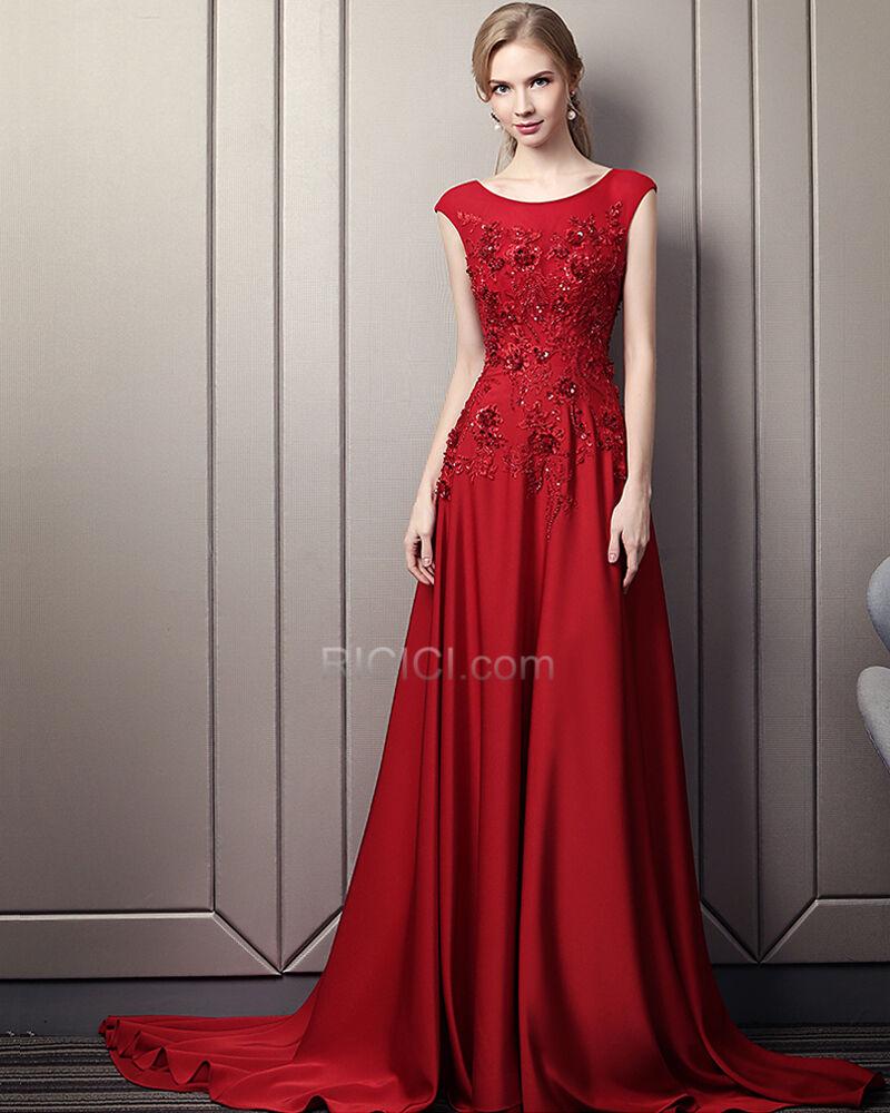 empire ballkleider mit schleppe perlen maxi abendkleid rot herrlich
