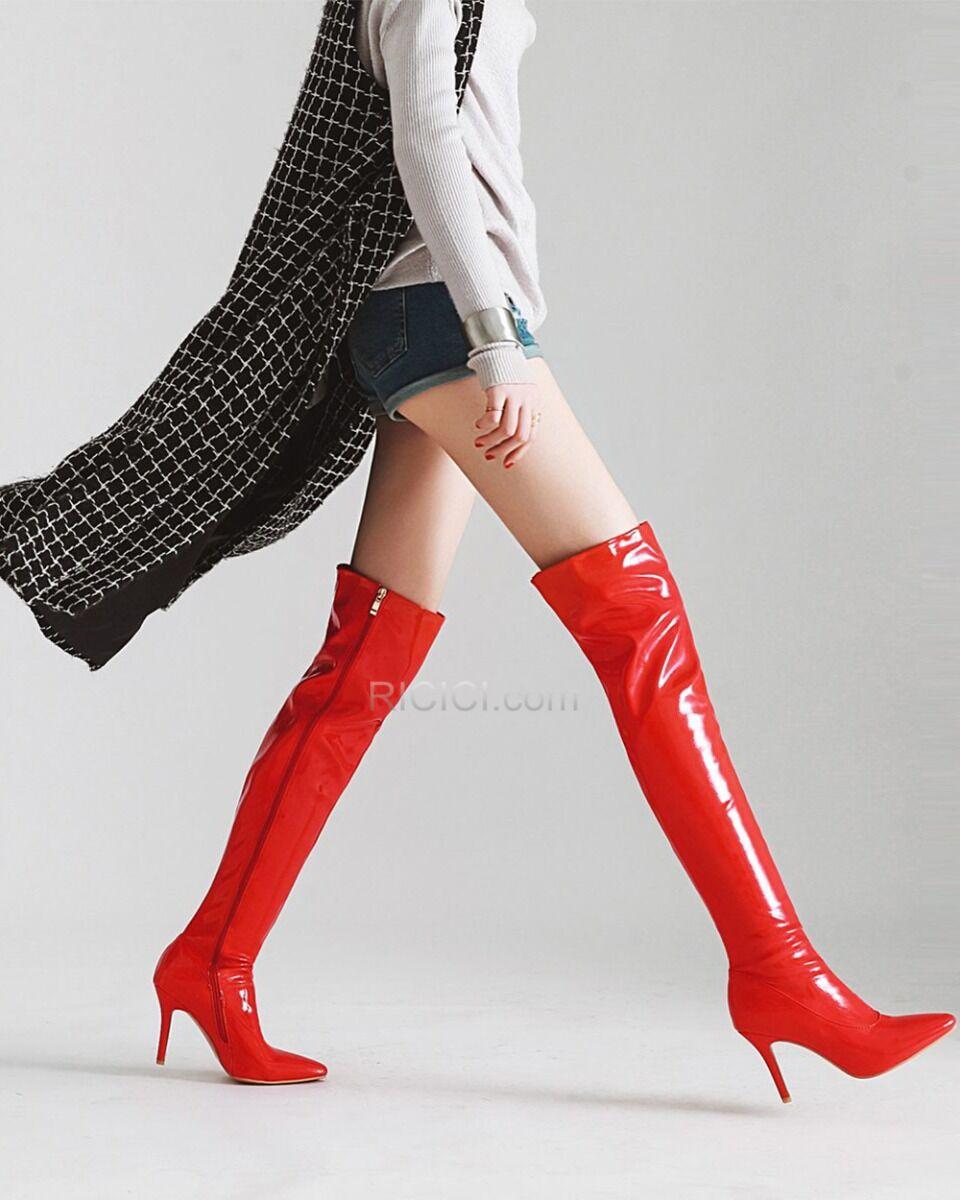 Stiletto Overknee Laarzen Dames Gevoerde Hakken Hoge Hakken Lak 9 cm Hoge Laarzen