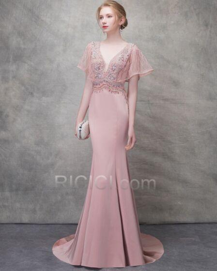 Vestidos De Prom Fiesta Con Cola Primavera Bohemios Con Manga Corta Elegantes Vestidos De Noche Para Fiesta De Tul Color Rosa Palo Corte Sirena