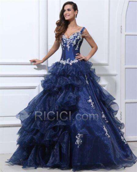 Con Volantes Vestidos De Prom Fiesta Azul Marino De Satin Vintage Escote V Pronunciado Elegantes Apliques Largos Quinceañera Vestidos De 15 Años