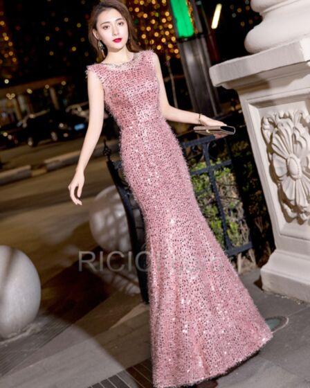 Lentejuelas Bohemios Vestidos Semi Formales Ajustados Largos Corte Sirena Color Rosa Palo