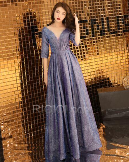 Morado Largos Escote V Pronunciado Con Purpurina Brillantes Vestidos De Noche Para Fiesta