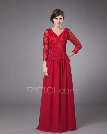 Largos Gasa Manga Larga Rojos Apliques Con Encaje Elegantes Vestidos De Fiesta Drapeado