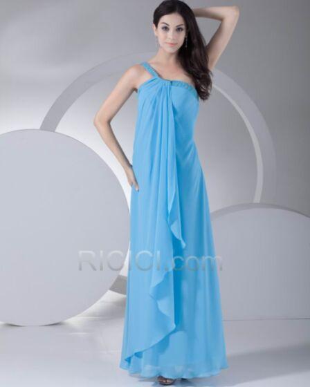 Vestidos Para Bodas Con Volantes Un Hombro Azul Cielo Vintage Gasa Largos Vestidos De Fiesta De Noche