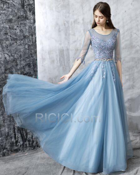 Largos Imperio Azul Claro Con Cuentas Bohemios Vestidos Fiesta De Noche Espalda Descubierta Apliques Bonitos