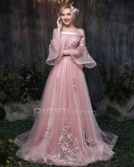 Color Rosa Viejo Vestidos Prom Largos Con Cola Sin Hombros Hombros Caidos Media Manga Tul Corte A Bonitos