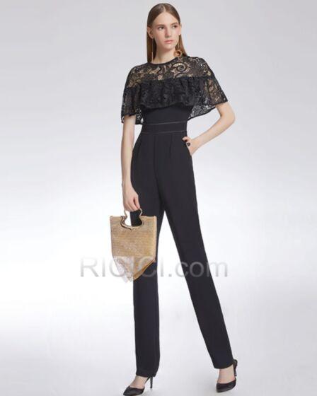 Pantalones De Talle Slto Elegantes Drapeado Negros Con Encaje Vestidos De Fiesta De Noche Vestido Para Trabajo Sencillos Manga Corta Monos