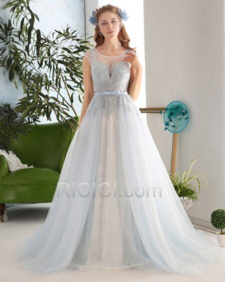 Sexys Vestidos De Fiesta Para Prom Con Cola Escotados Azul Claro Escote Corazon Sin Manga Tul Linea A Sin Espalda