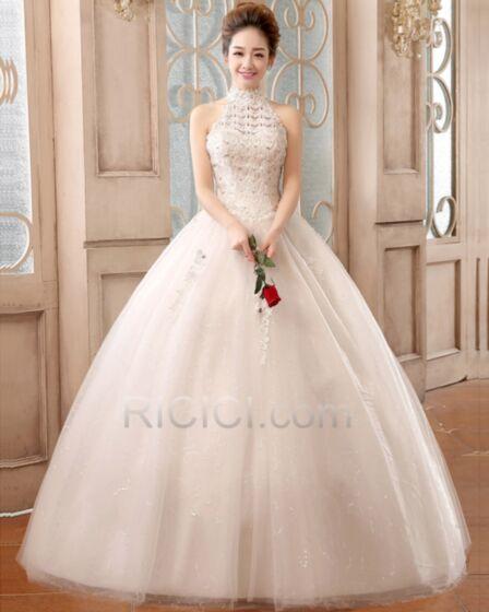 Blancos Vestidos De Novia Halter De Encaje Vintage Estilo Princesa