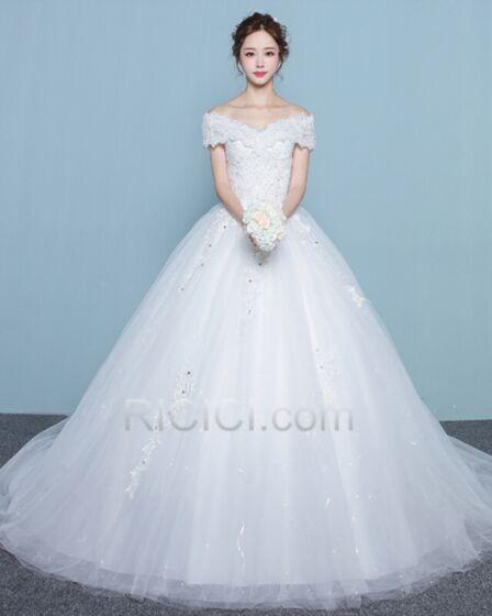 Elegantes Vestidos De Novia Blancos De Encaje Con Cola