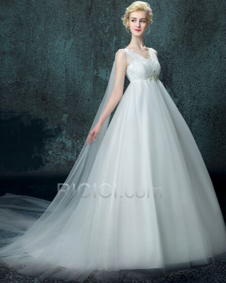 Vestidos De Novia Sin Manga Espalda Descubierta Iglesia Blanco Con Cola Elegantes Corte Princesa