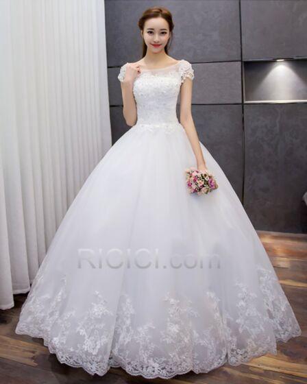Sin Manga Blancos Vestidos De Novia Estilo Princesa Elegantes De Encaje
