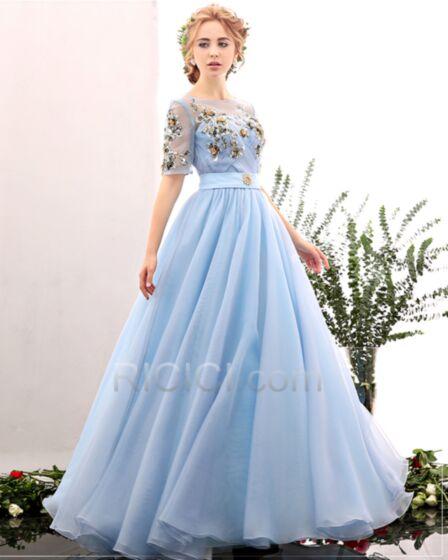 Vestidos De Noche Para Fiesta Espalda Descubierta Azul Claro De Tul Linea A Vestidos Prom Largos Elegantes