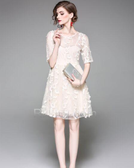 Color Champagne Tul Vestido Rectos Elegantes Chic De Encaje Apliques Casuales