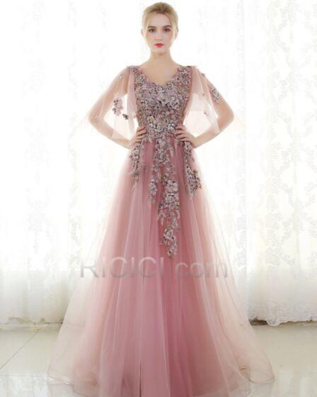 Vestidos De Prom Fiesta Con Encaje Color Rosa Viejo Lujo Brillantes Largos Con Mangas Acampanadas Escote V