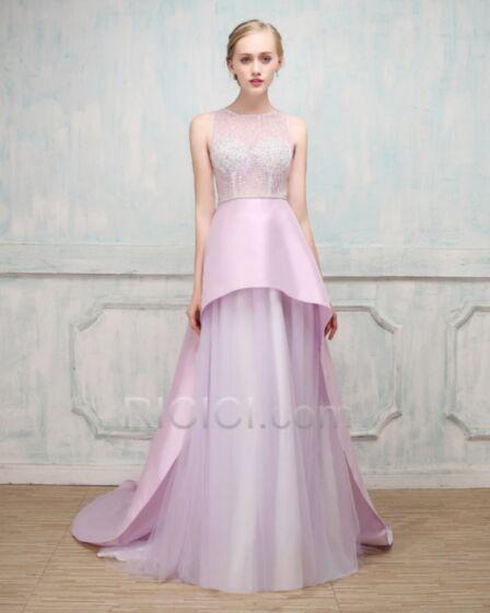 Largos Lavanda Con Cola Sexys Vestidos Prom Linea A Sin Espalda