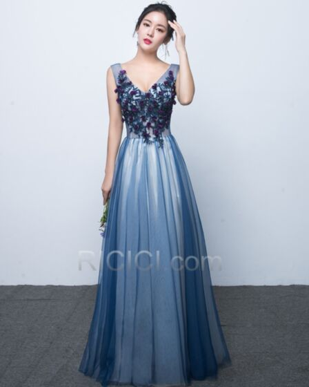 Elegantes Azul Oscuro De Encaje De Tul Vestidos De Damas De Honor Para Bodas Escotados Largos Imperio