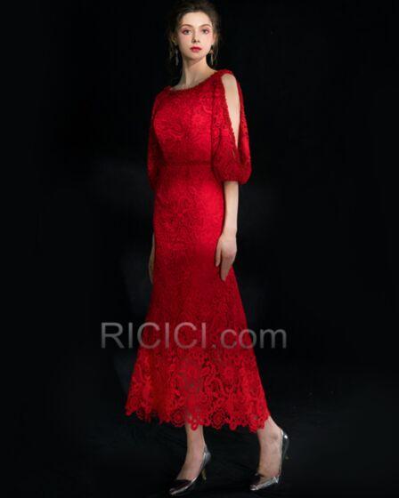 Largos Vestidos De Coctel Para Fiesta Rojos Hueco Corte A Vestidos Para Bodas Con Encaje Elegantes Espalda Abierta
